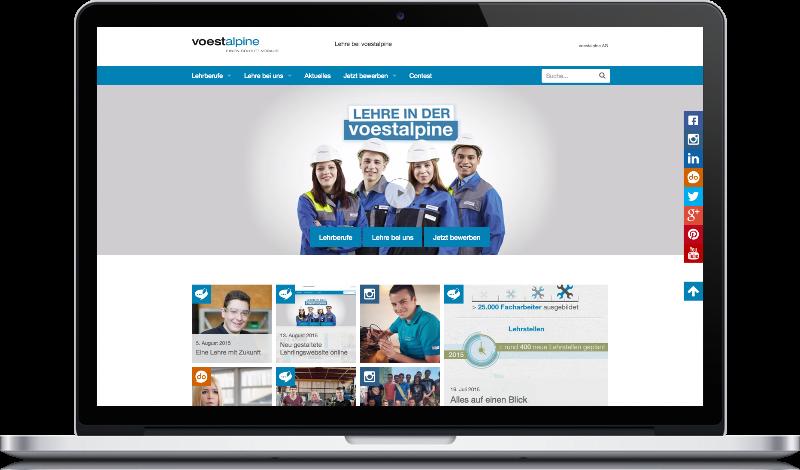 Screenshot der neuen voestalpine Lehrlings-Webseite. Programmiert von Peritus Webdesign.