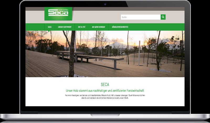 Screenshot der Website von Seca.at auf Peritus Webdesign Webseite